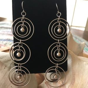 Vintage Sterling Silver Circle Silver Ball Dangles